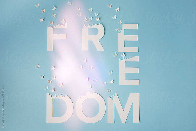 Freedom written with white letters and paper butterflies flying by Beatrix Boros for Stocksy United