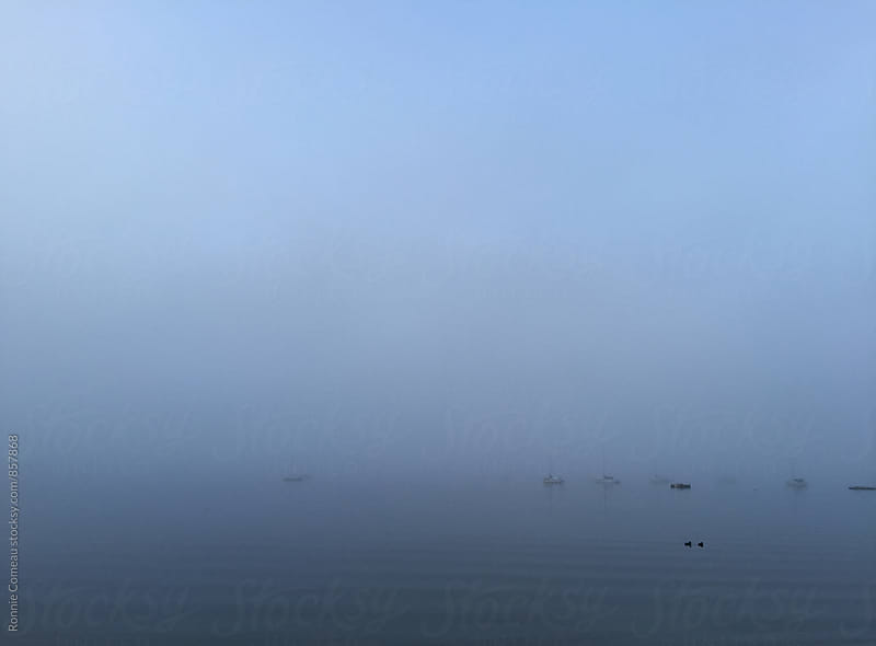 Minimalist Boats In Fog by Ronnie Comeau for Stocksy United