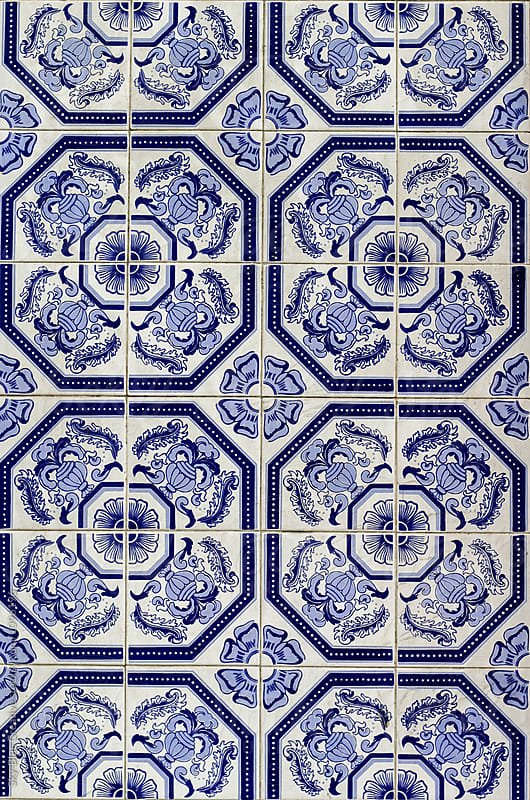 Detail of Portuguese glazed ceramic tiles. by Luca Pierro for Stocksy United
