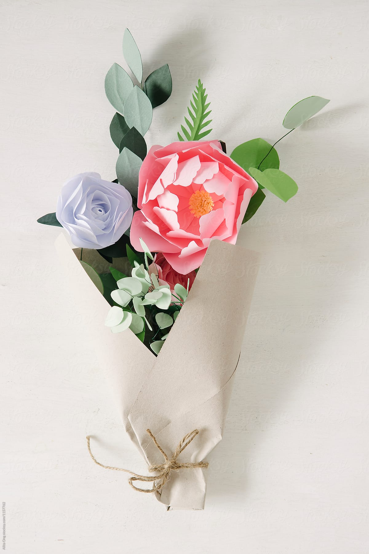 Stock Photo Wrapping Paper Flowers Bouquet