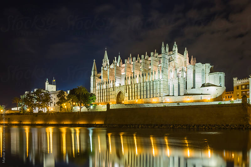 Cathedral of Palma de Mallorca at night by Marilar Irastorza for Stocksy United