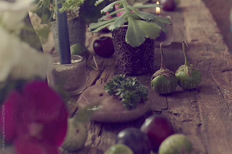 Scattered Plums on Rustic Wooden dinner table by Nick Wong for Stocksy United