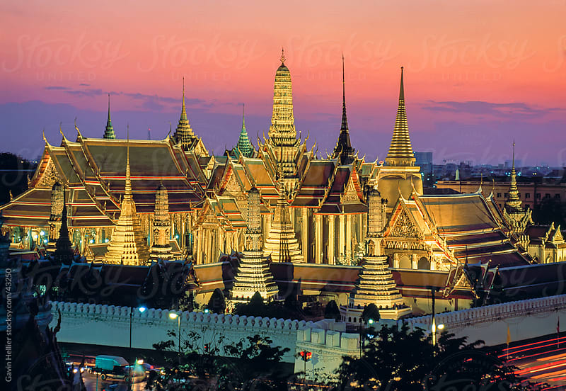 Thailand, Bangkok, Wat Phra Kaew & the Grand Palace or the Temple of the Emerald Buddha, elevated view at dusk by Gavin Hellier for Stocksy United