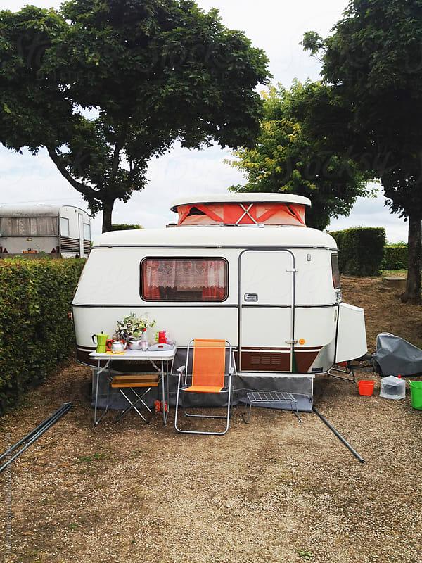 Vintage caravan on a camping in France by Ivar Teunissen for Stocksy United