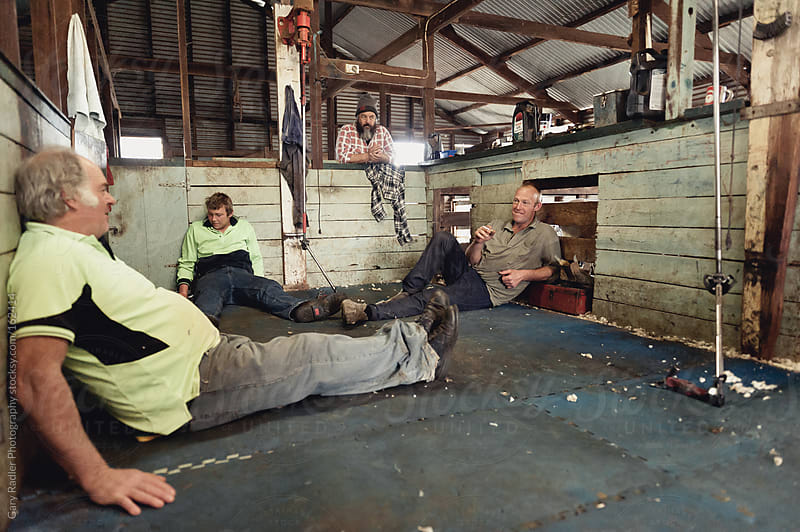 Smoko in the Shearing Shed by Gary Radler Photography for Stocksy United