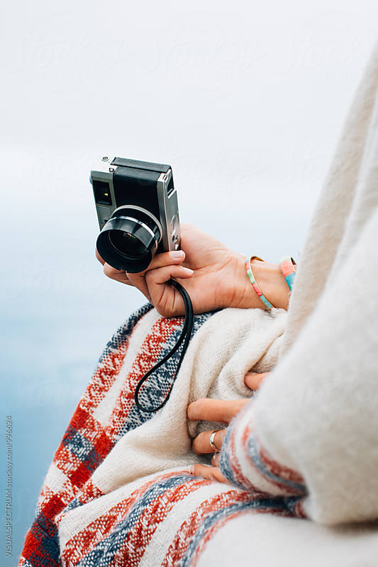 Pretty Female Hands Holding Old-Fashioned Rangefinder Camera by VISUALSPECTRUM for Stocksy United