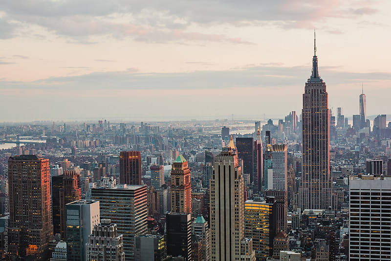 View of New York City from the Top of The Rock at sunset by michela ravasio for Stocksy United