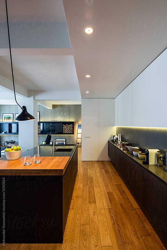 Modern kitchen in luxurious interior by Aleksandar Novoselski for Stocksy United