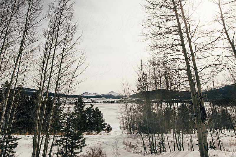 Frozen winter lake landscape by Isaiah & Taylor Photography for Stocksy United
