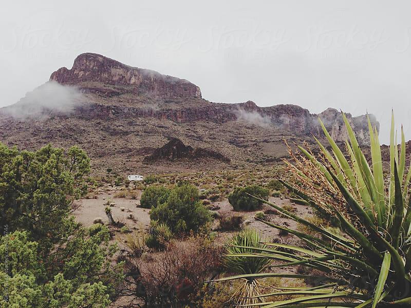 Foggy Desert Camper Landscape by Kevin Russ for Stocksy United