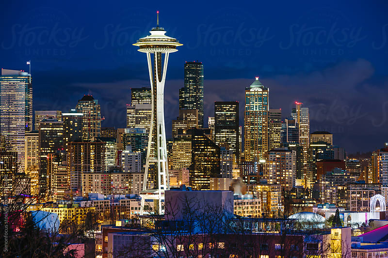 Seattle Space Needle and Skyline by Simon DesRochers for Stocksy United