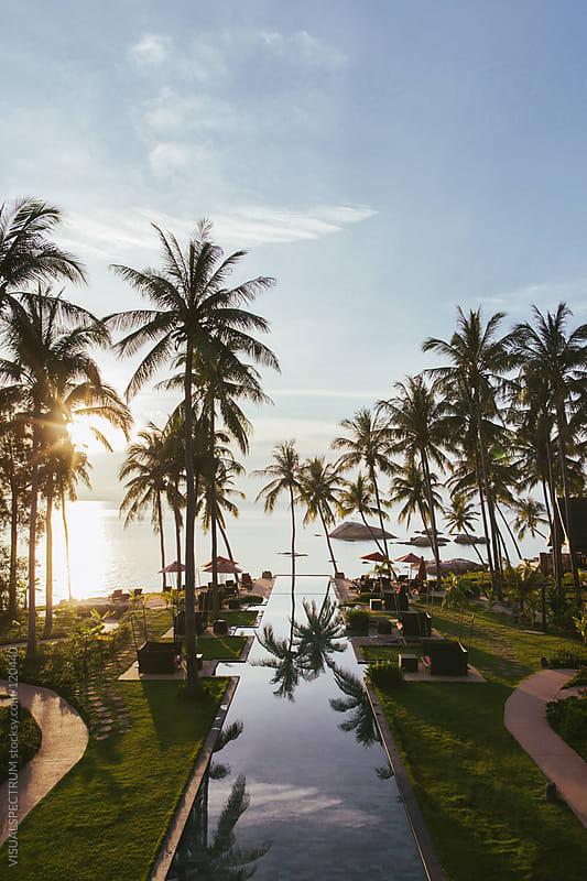Pool in Tropical Beach Resort by VISUALSPECTRUM for Stocksy United