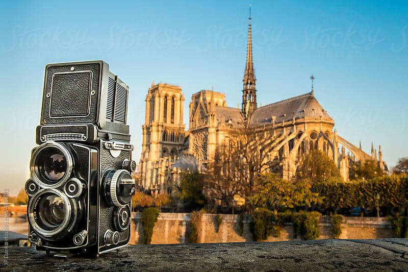 Vintage Film Medium Format Camera with Notre Dame de Paris by JP Danko for Stocksy United