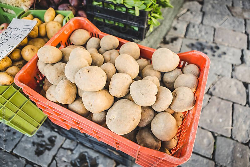 Potato Basket at the Street Market by Giorgio Magini for Stocksy United
