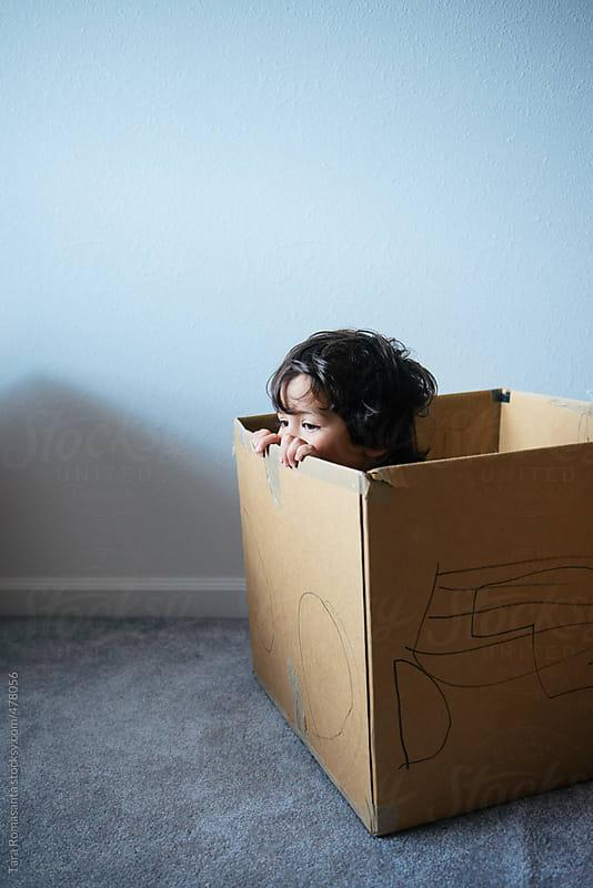 little boy peeks out of a cardboard box  by Tara Romasanta for Stocksy United