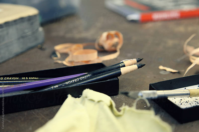 Close of of charcoal pencils and art supplies by Carolyn Lagattuta for Stocksy United