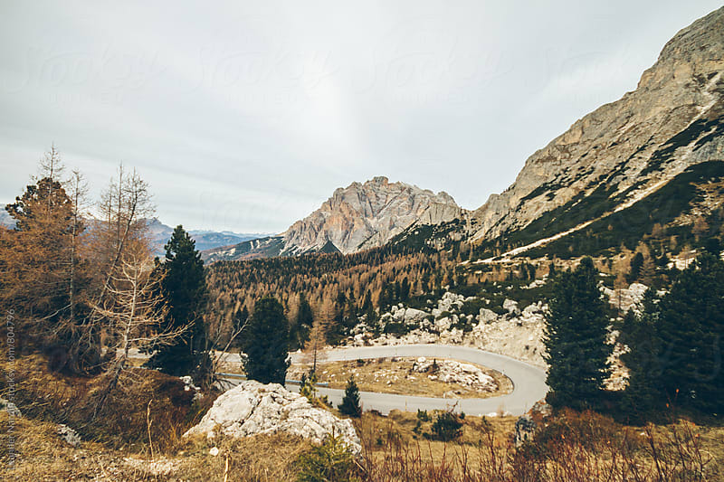 mountain pass in the italian alps in autumn with a hairpin curve by Leander Nardin for Stocksy United