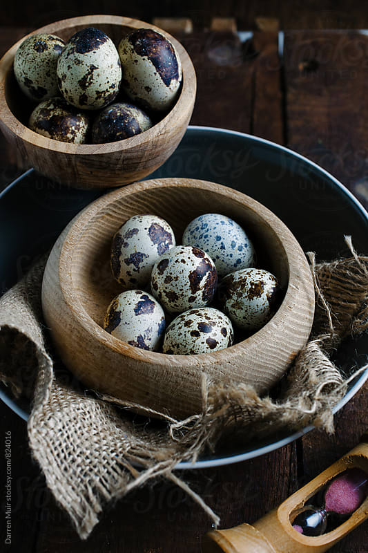 Quail eggs in a rustic setting. by Darren Muir for Stocksy United