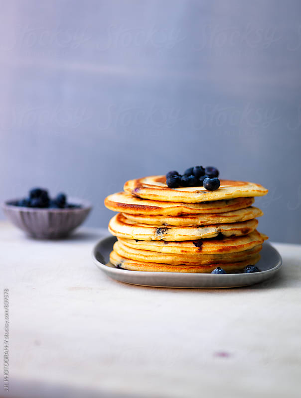 Pancakes with blueberries by J.R. PHOTOGRAPHY for Stocksy United