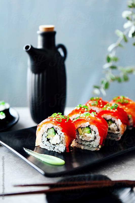 Salmon roll by Ellie Baygulov for Stocksy United