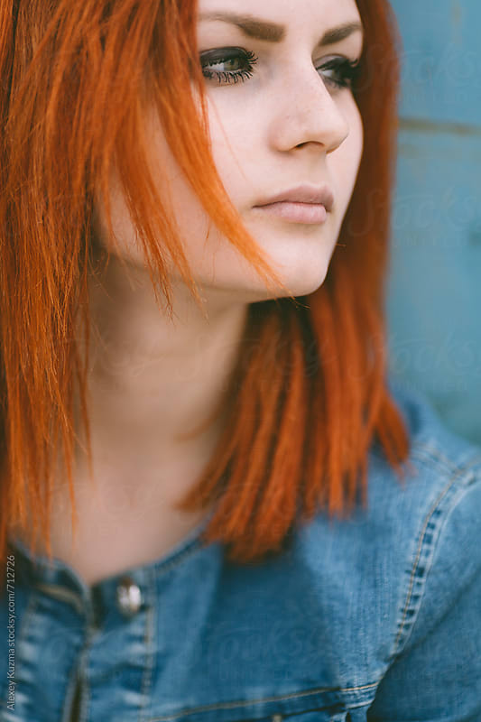 portrait of  young woman  with red hair by Alexey Kuzma for Stocksy United