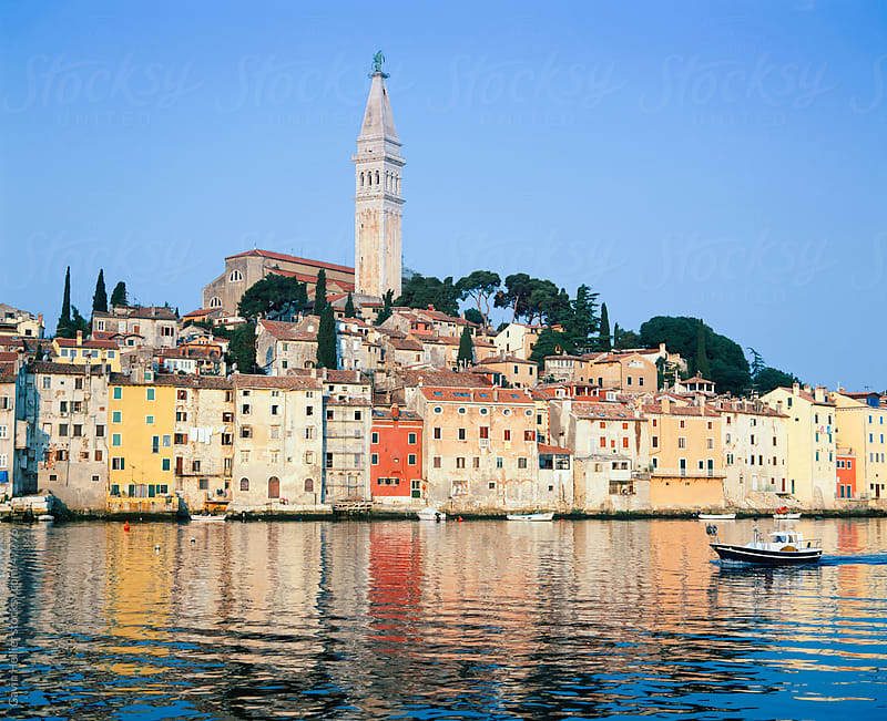 Old Town and St. Euphemia's Church at sunrise, Rovinj, Istria, Croatia, Adriatic, Europe by Gavin Hellier for Stocksy United