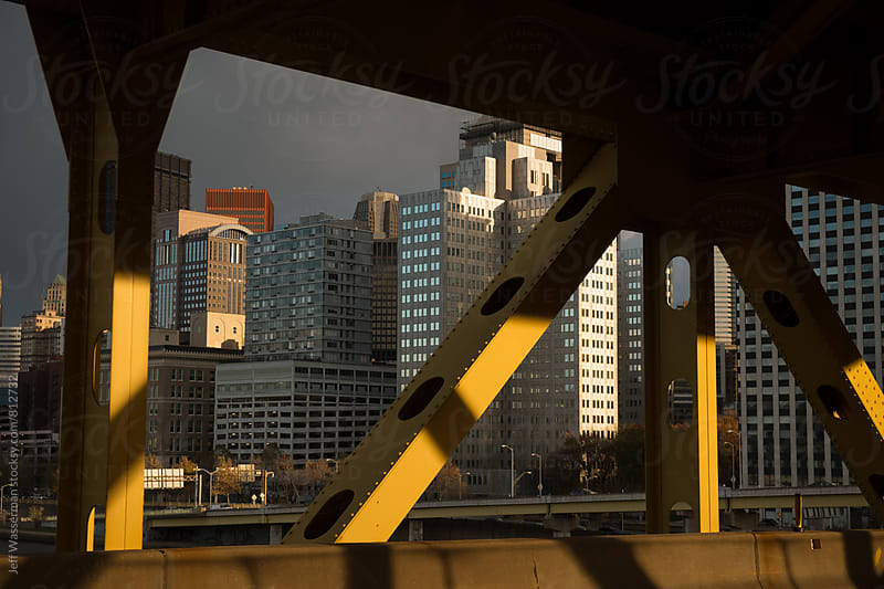 Downtown Pittsburgh Skyline From Bridge by Jeff Wasserman for Stocksy United