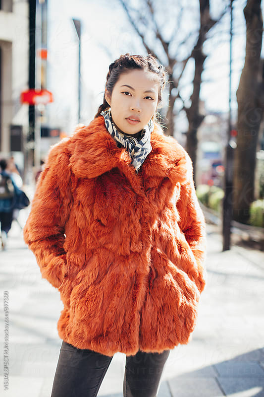 Outdoor Portrait of Pretty and Fashionable Young Japanese Woman by Julien L. Balmer for Stocksy United