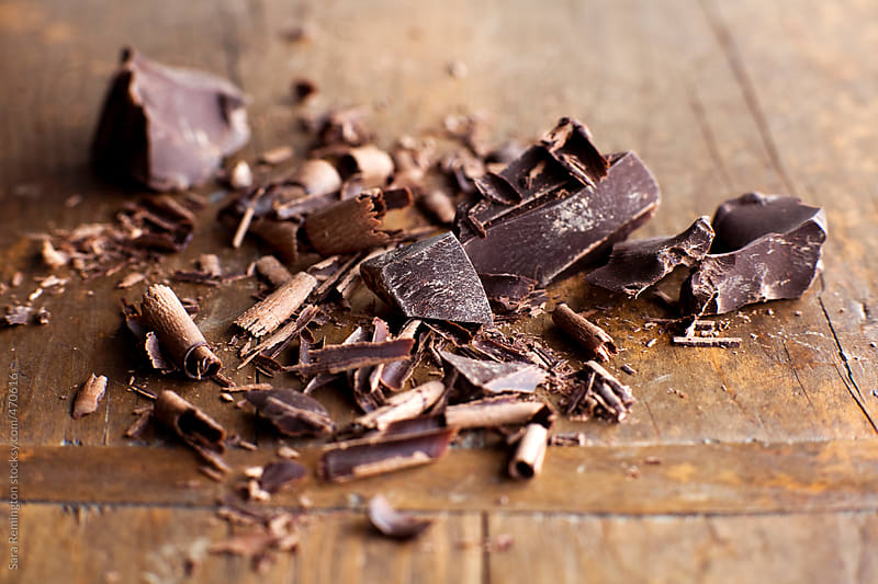 Pile of Chocolate Shavings on Board by Sara Remington for Stocksy United