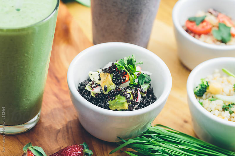 Black wild rice salad with avocado by Lior + Lone for Stocksy United