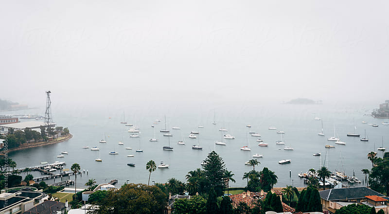 View on bay with sailing boats in fog by Trent Lanz for Stocksy United