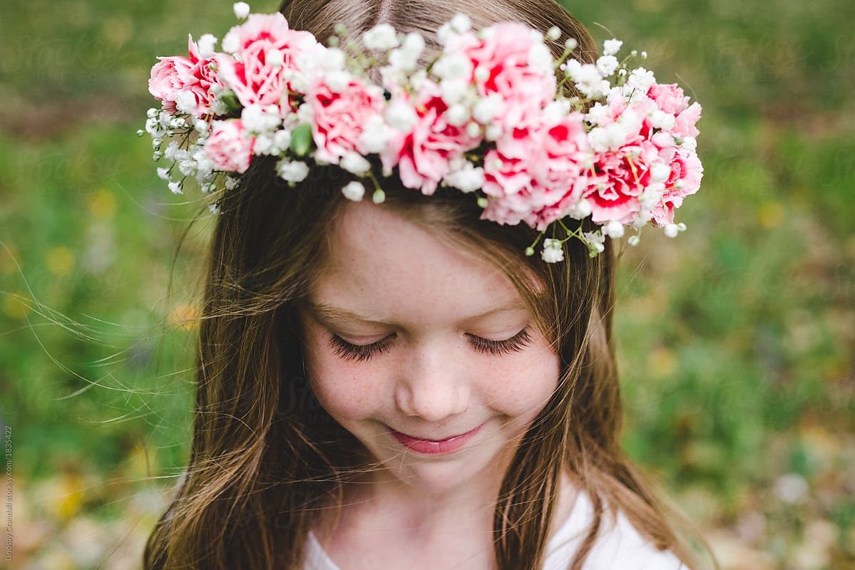 Cute Girl Modeling A Flower Crown Stocksy United