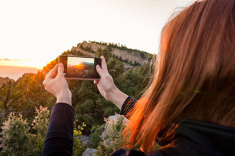 Woman Hiking Sandia Peak in Albuquerque Southwest USA New Mexico Taking A Photo by JP Danko for Stocksy United