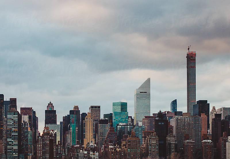 New York City skyline at sunset by Lauren Naefe for Stocksy United