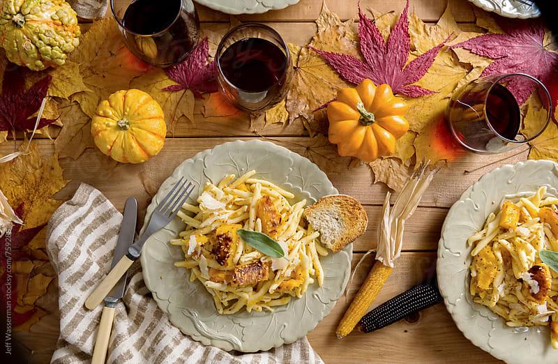 Vegetarian Thanksgiving Dinner Roasted Squash Pasta by Studio Six for Stocksy United