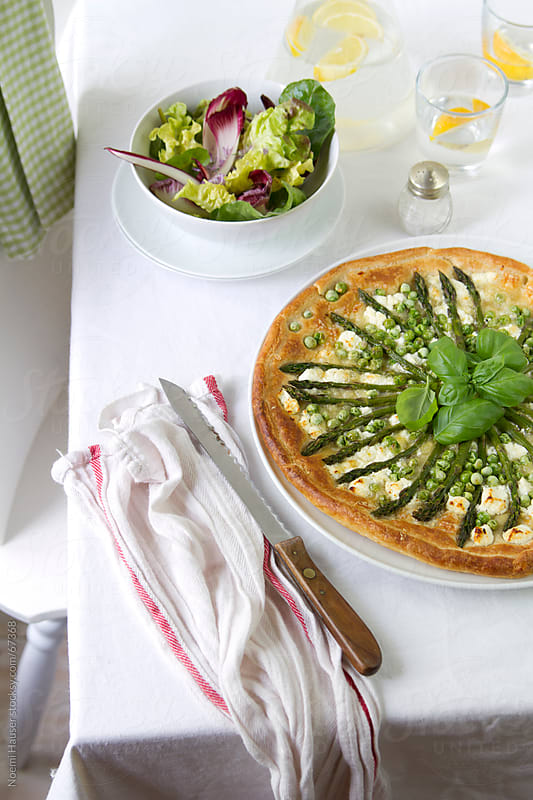 Asparagus and pea tart by Noemi Hauser for Stocksy United