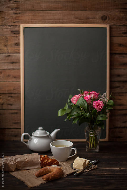 Empty Blackboard and Breakfast by Mosuno for Stocksy United