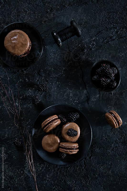 Chocolate macarons by Ellie Baygulov for Stocksy United