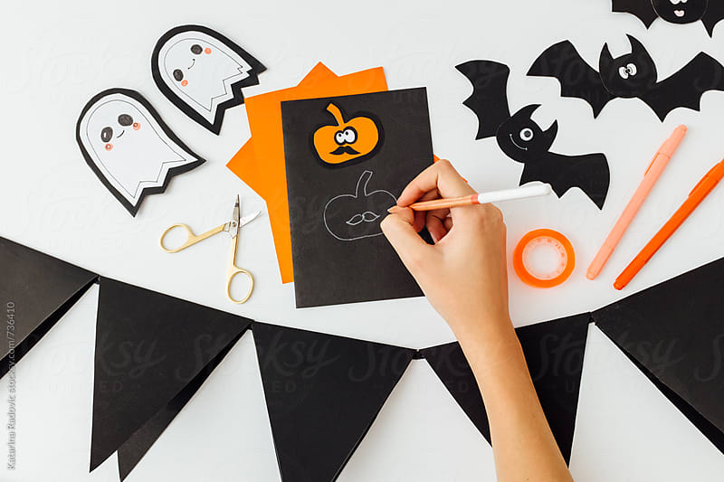 DIY Halloween Party Decoration  by Katarina Radovic for Stocksy United