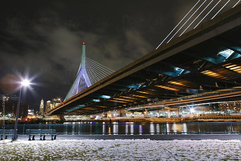 Zakim Bridge at Night Boston, Massachusetts, USA by Raymond Forbes LLC for Stocksy United
