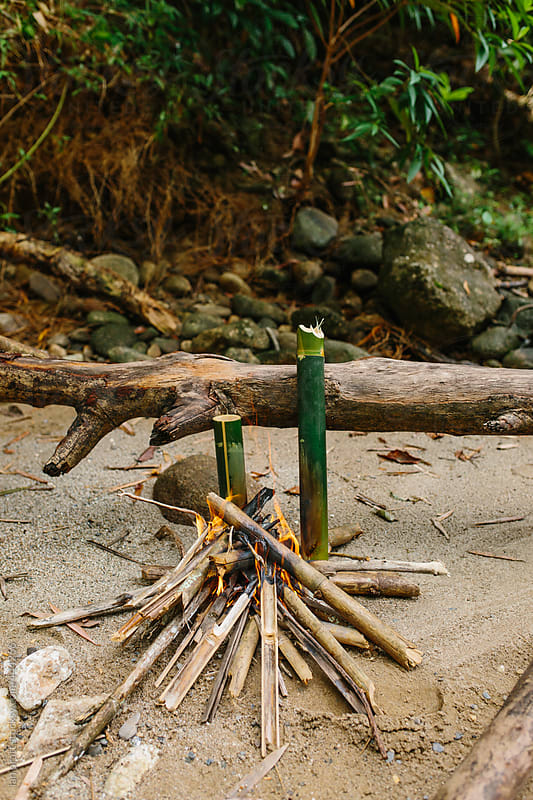 rivercamp fire by Ian Pratt for Stocksy United