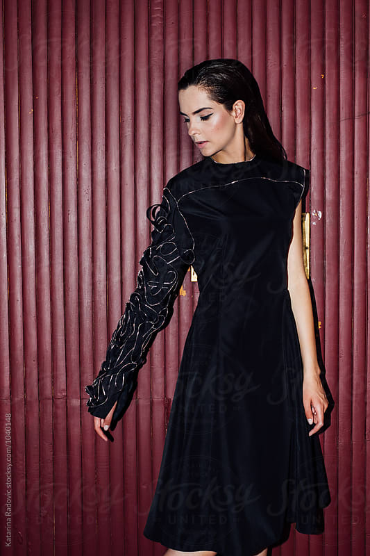 Beautiful Fashion Model Posing in a Dress by Katarina Radovic for Stocksy United