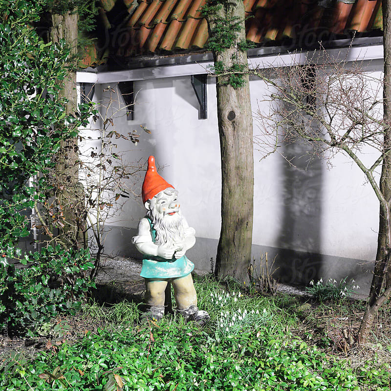 Garden gnome at night by Marcel for Stocksy United
