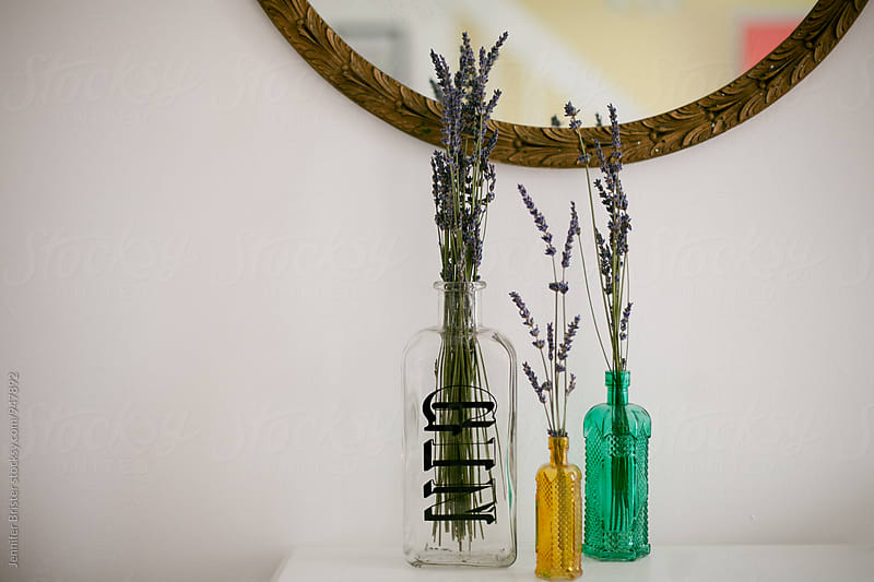 empty bottles filled with lavender  by Jen Brister for Stocksy United