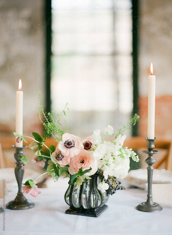 Flower Arrangements for a Dinner Party by Marta Locklear for Stocksy United