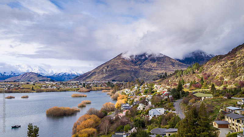 Beautiful aerial view of  Queenstown by Song Heming for Stocksy United