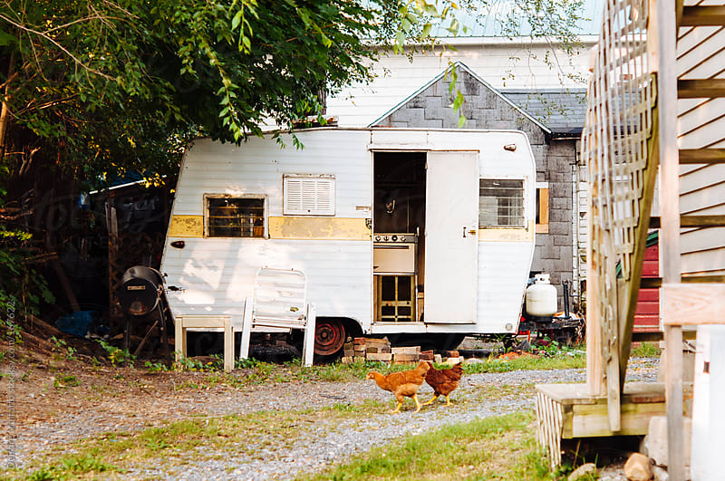 chickens outside camper coop by Deirdre Malfatto for Stocksy United