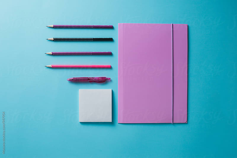 Office Supplies on a Blue Background by Mosuno for Stocksy United