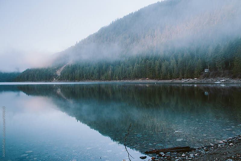 Foggy reflection of a shoreline.  by Justin Mullet for Stocksy United