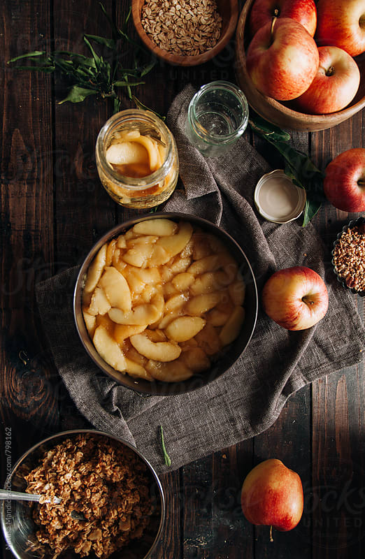 Making a crumble apple pie by Nataša Mandić for Stocksy United